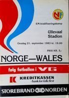 Norway - Wales European Championship qualifying match programme (21.09.1983)