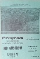 Unia Leszno - MC Gustrow speedway friendly match programme (23.03.1975)