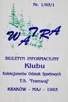 """Watra"" - Bulletin of Sport Collectors Association TS Tramwaj nr 1/1993"