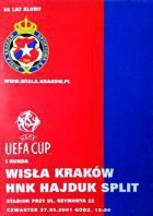 Wisla Cracow - HNK Hajduk Split UEFA Cup match official programme (27.09.2001)