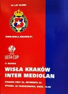 Wisla Cracow - Inter Milan UEFA Cup match official programme (30.10.2001)