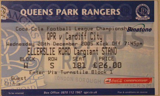 Queens park rangers cardiff city league championship match ticket tickets - Cardiff city ticket office number ...