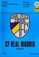 Program FC Carl Zeiss Jena - Real Madryt Puchar UEFA (04.11.1981)