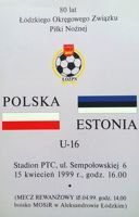 Program Polska - Estonia U16 (15.04.1999)