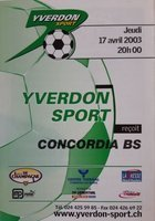 Program Yverdon-Sport - Concordia Basel Nationalliga B Szwajcaria (17.04.2003)