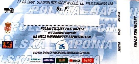Bilet Zaproszenie Polska Japonia Mecz Towarzyski 27032002