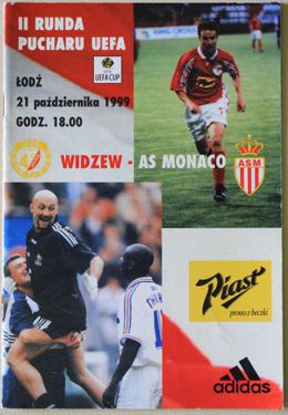 Program Widzew Łódź - AS Monaco 21.10.1999 (Puchar UEFA)